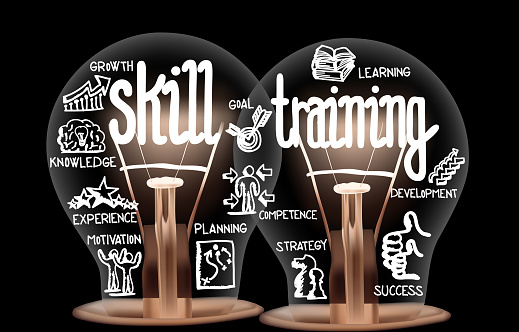 Photo of light bulbs with shining fibers in a shape of Skill Training, Education, Ability and Knowledge concept related words isolated on black background