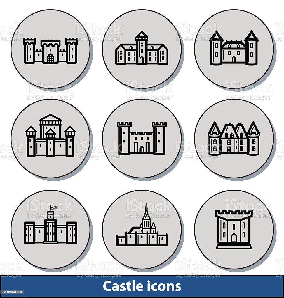 Light castle icons vector art illustration