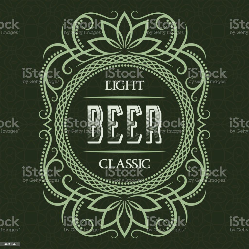light classic beer label design template patterned vintage frame