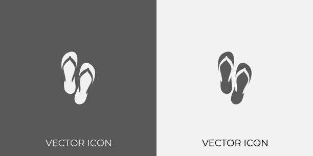 stockillustraties, clipart, cartoons en iconen met light & donkergrijs icoon van flip-flop voor mobiel, software & app. eps. 10. - sandaal