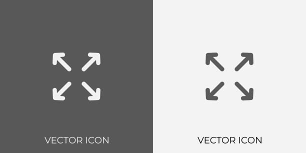 light & dark gray icon of four arrow for mobile, software & app. eps. 10. - start stock illustrations