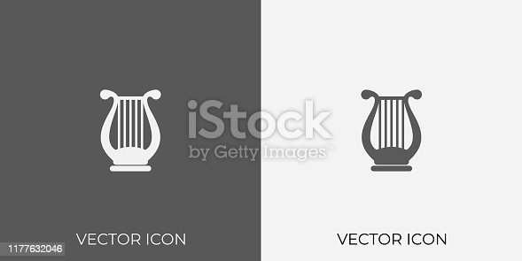 Light & Dark Gray Icon of lyre.
