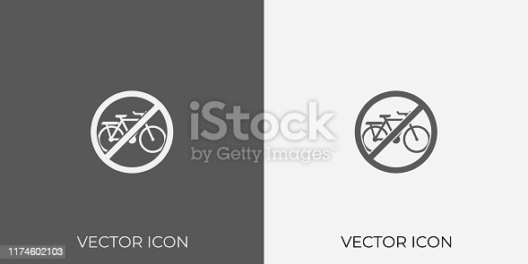 Light & Dark Gray Icon of No Cycle.