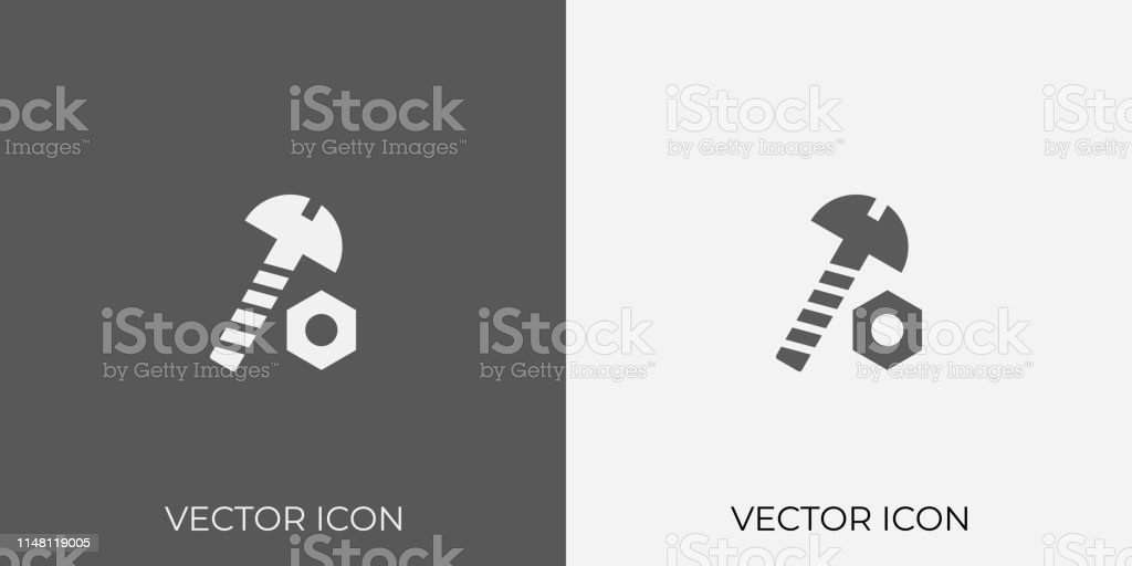 Light Dark Gray Icon Of Nut Bolt For Mobile Software App Eps 10 Vector Vector Stock Illustration Download Image Now Istock