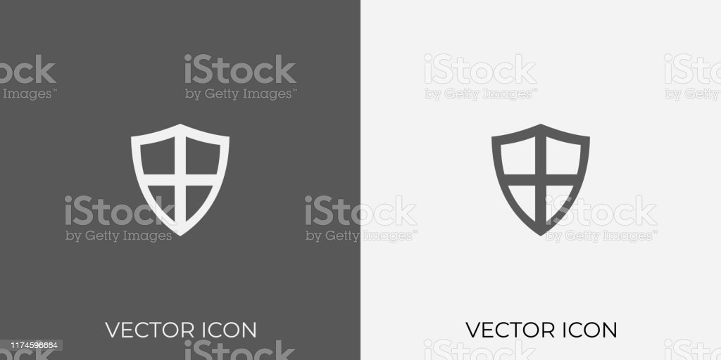 Light Dark Gray Icon Of Protection Shield For Mobile Software App Eps 10 Stock Illustration Download Image Now Istock