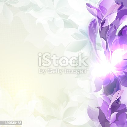 Light design with abstract silhouettes of violet leaves and flowers.