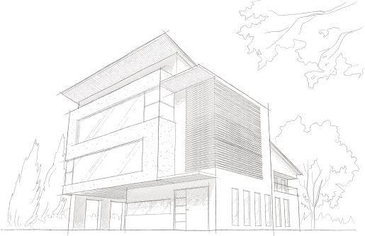 Light detailed sketch of a modern building