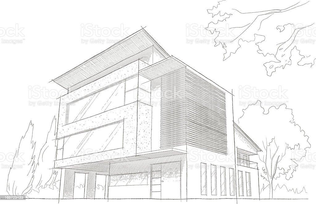 Light detailed sketch of a modern building vector art illustration