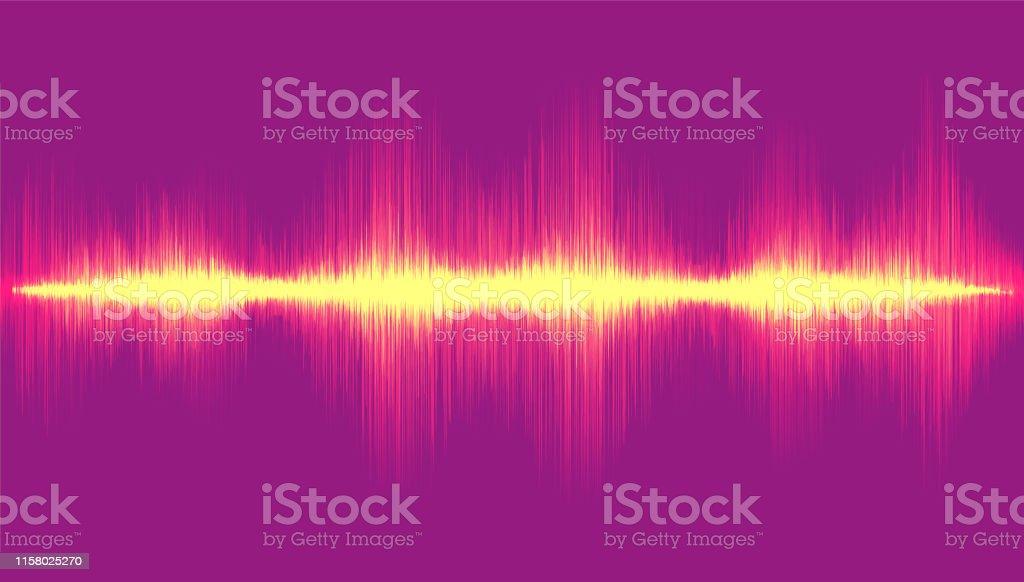 Light Digital Sound Wave on Violet Background,Technology Wave...