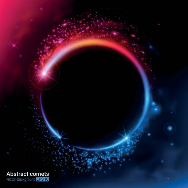 Light effect. Abstract neon comets. The vortex of brilliant particles. vector art illustration
