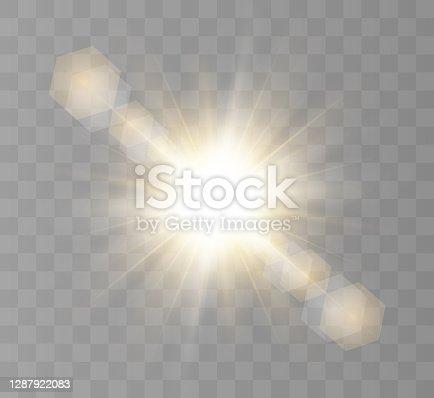 istock Light effect, burst explosion on a transparent background. Vector illustration, decoration with ray. Bright Star. Translucent sunshine, bright illumination. Bright center flash White glowing light burst explosion on transparent background. Vector illustr 1287922083