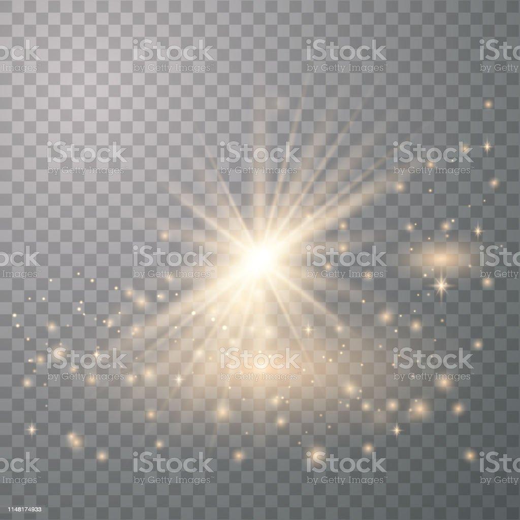 Light effect glow. Bright Star. White glowing light burst explosion...