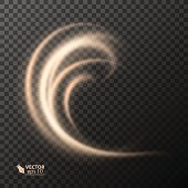Light effect line gold vector circle. Glowing light fire ring trace. Glitter magic sparkle swirl trail effect on transparent background. light glitter round wave line