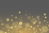 Light effect of golden glares bokeh isolated on transparent background. Bright glow. Golden glitters. Random blurry spots. Vector illustration