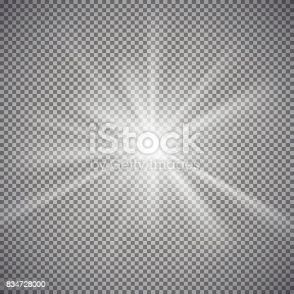 istock Light effect on transparent background 834728000