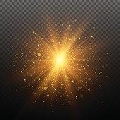Light effect. Star burst with sparkles. Gold glitter texture. EPS10