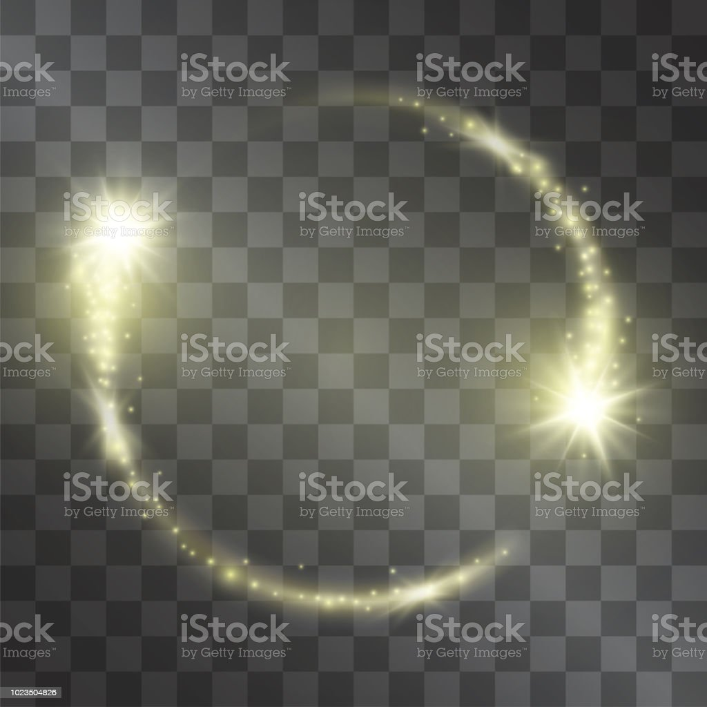 Light effect with circle frame golden comet with glowing tail of shining stardust sparkles, warm illumination. Glistening energy ring flow in motion. Luxurious design element.