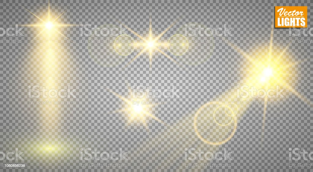 Light effects. A set of golden shining lights isolated on a...