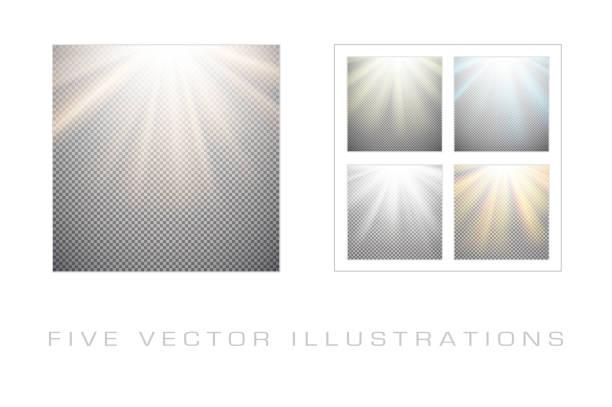 Light effects on transparent background vector art illustration