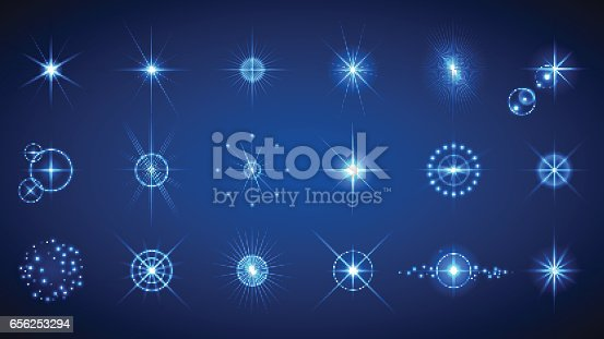 Light effects set. Vector illustration of abstract glowing lights, flashes, lens flares, stars and sparkles for your design