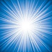 Detailed blue vector starburst background.