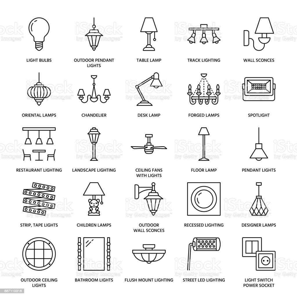 Light fixture, lamps flat line icons. Home and outdoor lighting equipment - chandelier, wall sconce, desk lamp, light bulb, power socket. Vector illustration, signs for electric, interior store