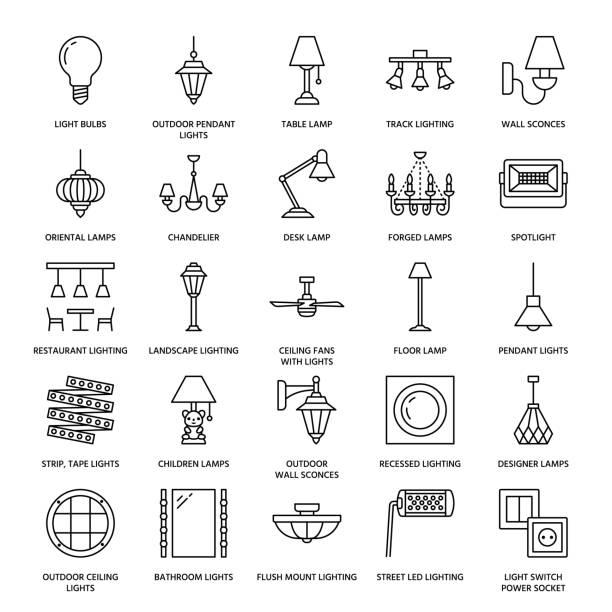 oprawa oświetleniowa, lampy płaskie ikony linii. domowe i zewnętrzne urządzenia oświetleniowe - żyrandol, kinkiety ścienne, lampa biurkowa, żarówka, gniazdko elektryczne. ilustracja wektorowa, znaki elektryczne, sklep wewnętrzny - lampa elektryczna stock illustrations