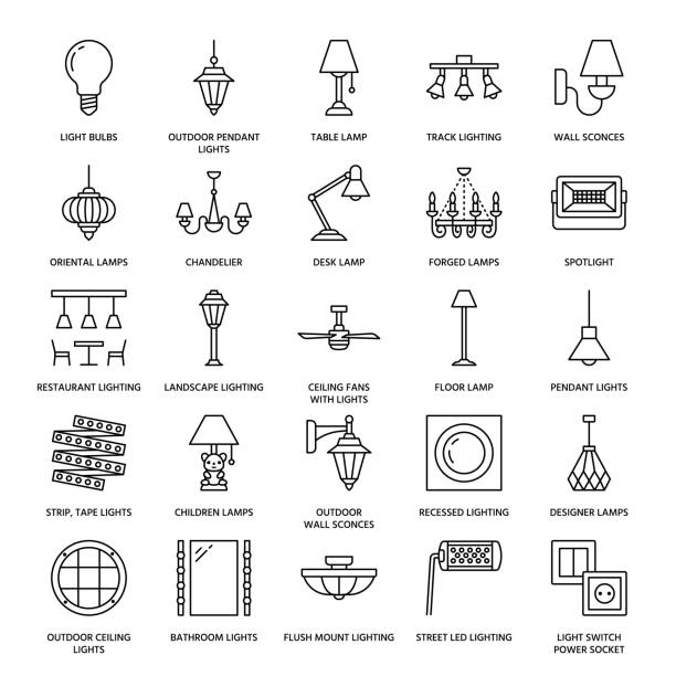 Light fixture, lamps flat line icons. Home and outdoor lighting equipment - chandelier, wall sconce, desk lamp, light bulb, power socket. Vector illustration, signs for electric, interior store Light fixture, lamps flat line icons. Home and outdoor lighting equipment - chandelier, wall sconce, desk lamp, light bulb, power socket. Vector illustration, signs for electric, interior store. ceiling fan stock illustrations