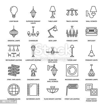 照明器具ランプはフラット ライン アイコンです家庭や屋外の照明器具 シャンデリア壁壁取り付け用燭台電気スタンド電球