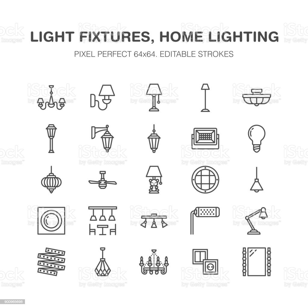 Light Fixture Lamps Flat Line Icons Home And Outdoor Lighting ...