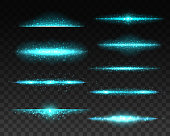 Light flare lines, magical sparkles set. Glowing lines with illuminating particles, blue rays or fantasy beams with glitter realistic vector. Stardust glare, energy trail light effect design element