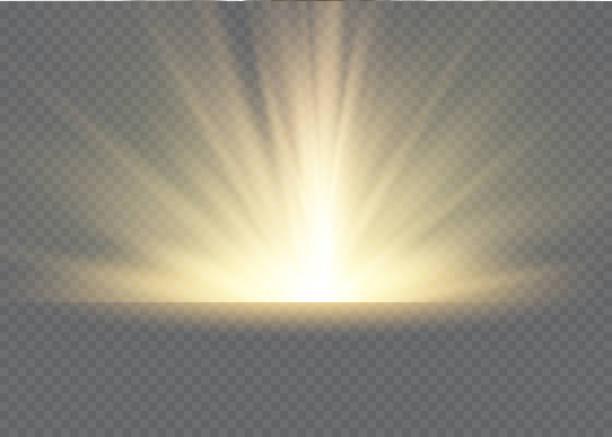 빛의 광선과 마법의 반짝임이 있는 라이트 플레어 특수 효과. 빛 투명 벡터 조명 효과 세트, 폭발, 반짝이, 불꽃, 태양 플래시. - 밝은 빛 stock illustrations