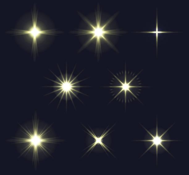 ilustrações de stock, clip art, desenhos animados e ícones de light flares set - glow