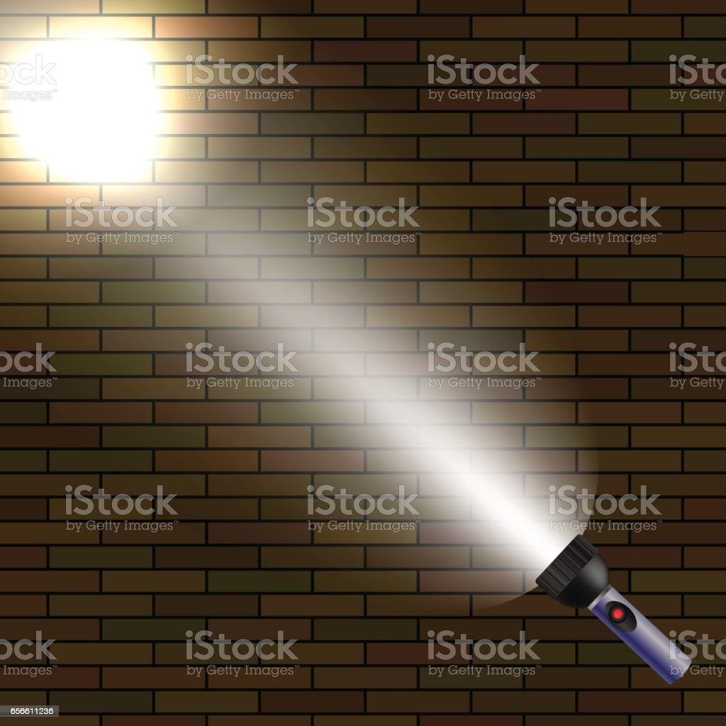 Light Flash on Dark Brick Background vector art illustration