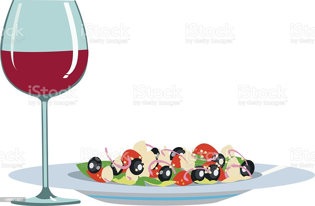 Light food and wine royalty-free stock vector art