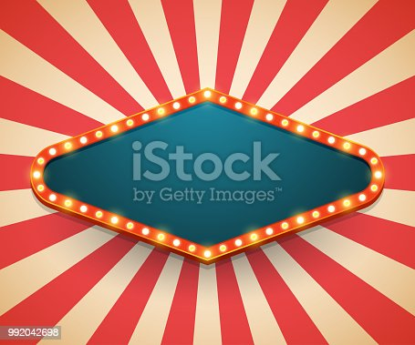 Light frame shining retro billboard. Casino poster vintage style. Vector illustration