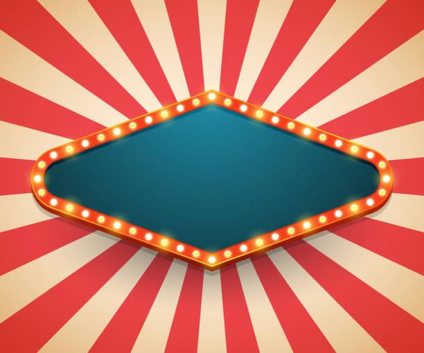 light frame shining retro billboard. casino poster vintage style. vector illustration - circus stock illustrations