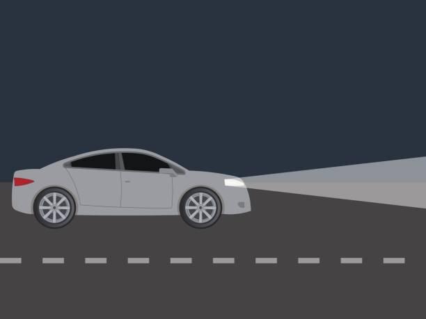 illustrations, cliparts, dessins animés et icônes de lumière des phares de voiture dans la nuit - voiture nuit