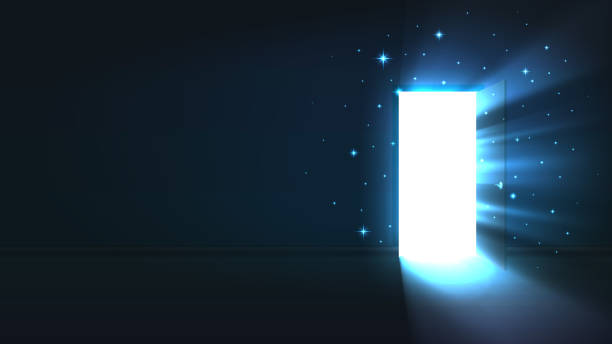 ilustrações de stock, clip art, desenhos animados e ícones de light from the open door of a dark room, abstract mystical glowing exit, discovery, background, open door template, mock up - milagre evento religioso