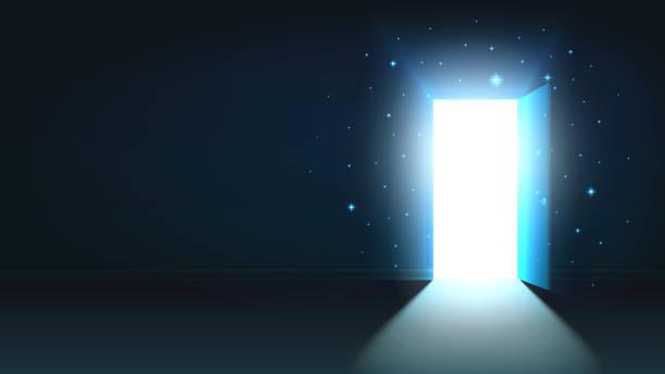 ilustrações, clipart, desenhos animados e ícones de luz de porta aberta de um quarto escuro, abstrata mística saída brilhante, fundo, modelo de porta aberta, mock up - aberto