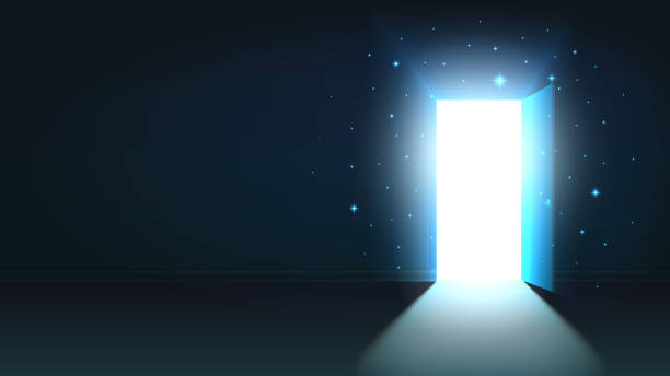 Light from the open door of a dark room, abstract mystical shining exit, background, open door template, mock up Light from the open door of a dark room, abstract mystical shining exit, background, open door template, mock up door stock illustrations