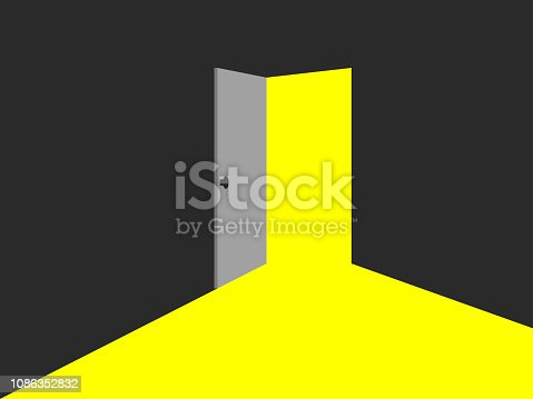 Light from the open door. Yellow light. Vector illustration