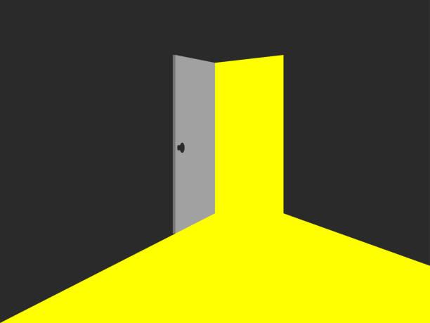 ilustrações, clipart, desenhos animados e ícones de luz de porta aberta. luz amarela. ilustração vetorial - portal
