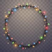 Light garland ring in vector