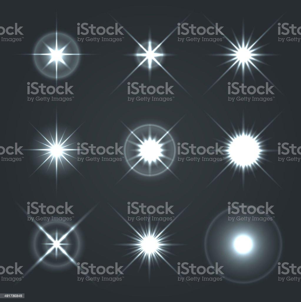 Light Glow Flare Stars Effect Set 2. vector art illustration