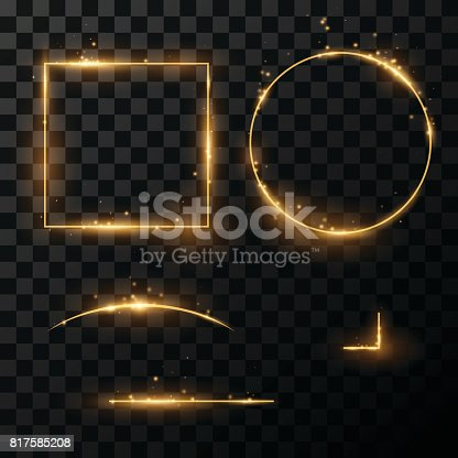 Light golden frames and lines in vector