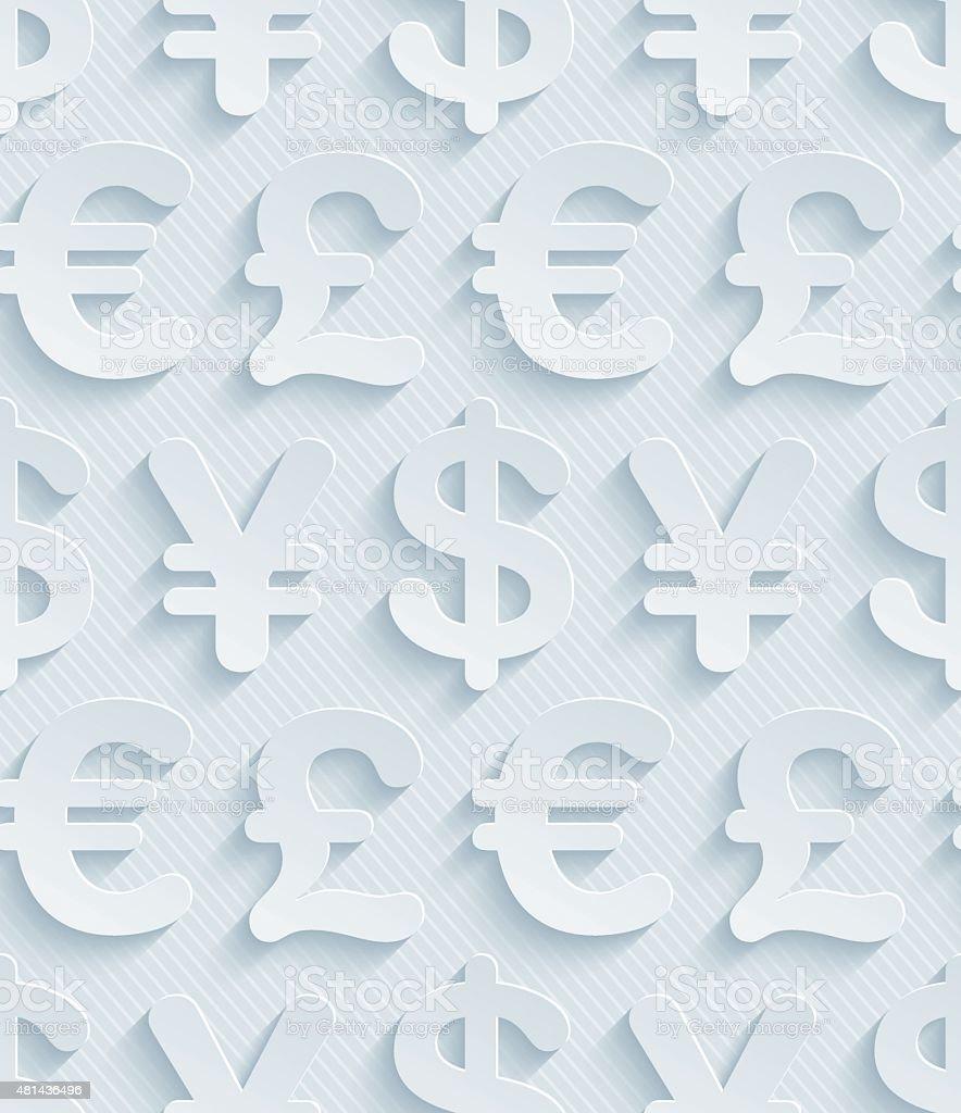 Light gray currency symbols wallpaper. vector art illustration