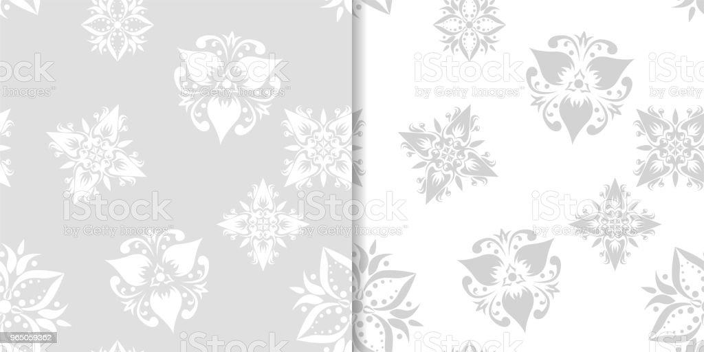Light gray floral backgrounds. Set of seamless patterns light gray floral backgrounds set of seamless patterns - stockowe grafiki wektorowe i więcej obrazów abstrakcja royalty-free