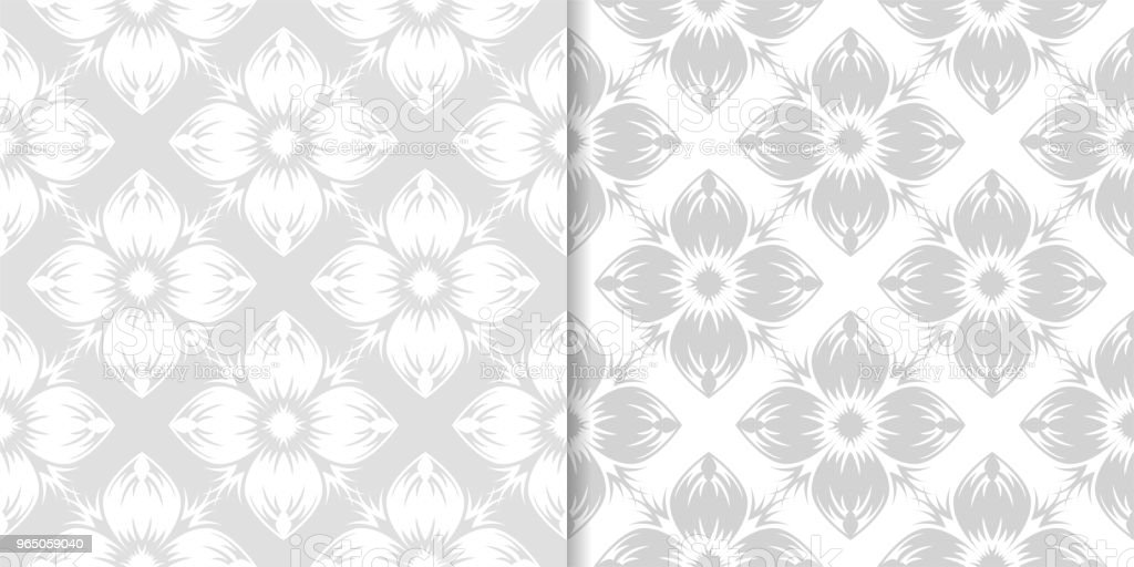 Light gray floral ornamental designs. Set of seamless patterns royalty-free light gray floral ornamental designs set of seamless patterns stock vector art & more images of abstract