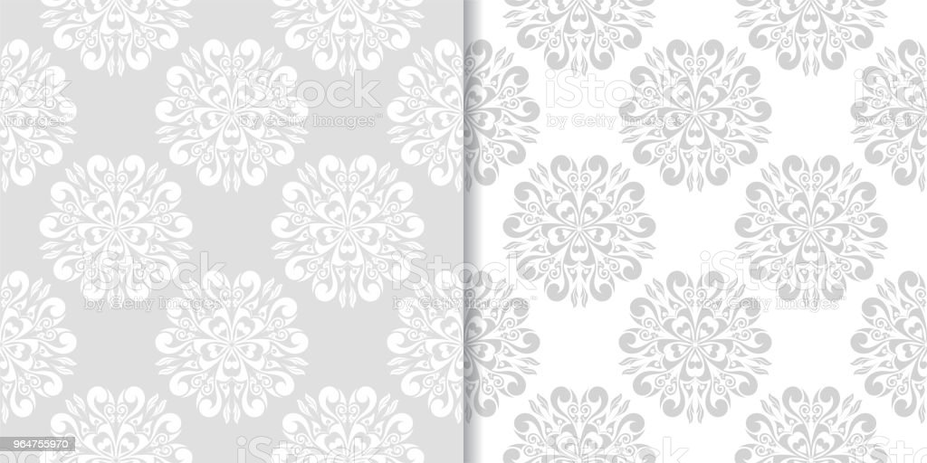 Light gray floral ornaments. Set of seamless patterns royalty-free light gray floral ornaments set of seamless patterns stock vector art & more images of abstract